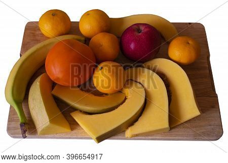 Isolate Of A Variety Of Fruits Arranged On A Board