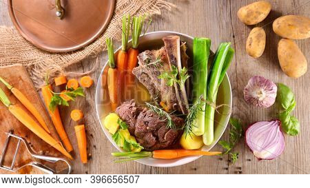 pot au feu- traditional french dish with ingredient