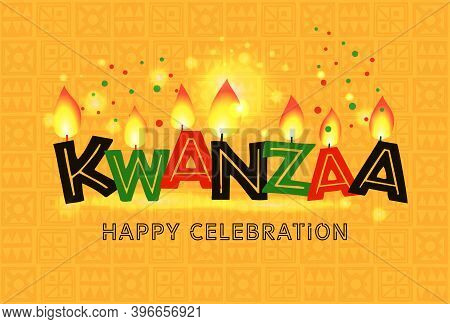 Banner For Kwanzaa With Traditional Colored And Candles On Yellow Background Representing The Seven