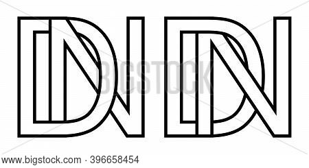 Logo Nd And Dn Icon Sign Two Interlaced Letters D N, Vector Logo Nd Dn First Capital Letters Pattern