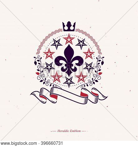 Retro Vintage Insignia Composed Using Lily Flower, Imperial Crown And Pentagonal Stars. Vector Royal