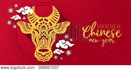 Chinese New Year , Year Of The Ox With Gold Paper Cutting Head Ox Zodiac Sign And White Clude And Fl
