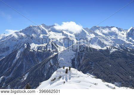 Mayrhofen - Austrian Alps Winter Mountain Landscape In Tyrol. Austrian Central Alps.
