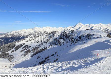 Mayrhofen - Austrian Alps Winter Ski Resort In Tyrol. Austrian Central Alps. Zillertal Valley.