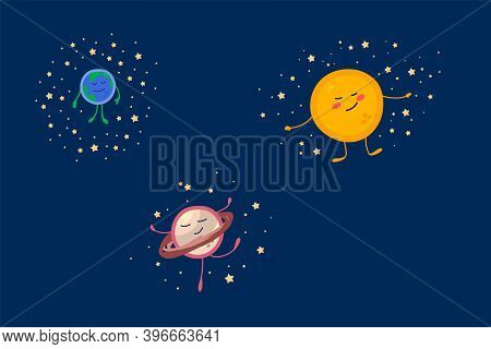 Set Of Cute Planets And Stars Of The Solar System. Cartoon Universe In A Circle Of Stars For Childre