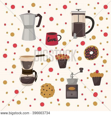 Beautiful Pattern Of Coffee Drinks And Food. Hand-drawn Background For Kitchen Or Restaurant Textile