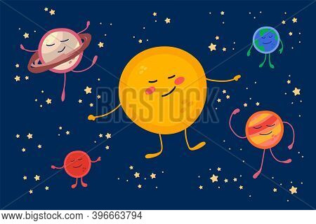 Cute Planets In The Solar System. Cartoon Universe In A Circle Of Stars For Children: Sun, Earth, Mo