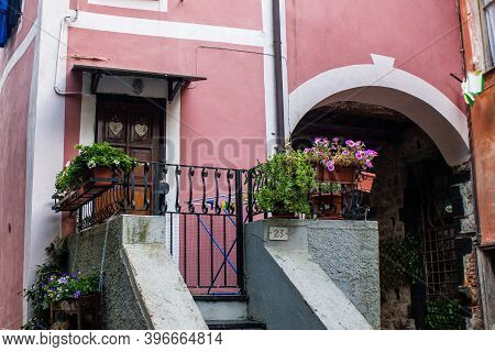 Monterosso Al Mare, Italy - July 8, 2017: View Of A Traditional Colorful House In Monterosso Al Mare