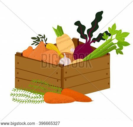 Veggie Box With Vegetables. Hand Drawn Healthy Eating Products. Vegans And Vegetarians Food, Potato,