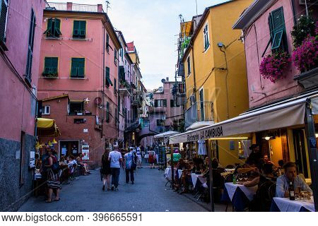 Monterosso Al Mare, Italy - July 8, 2017: View Of People Walking In Monterosso Al Mare Old Town