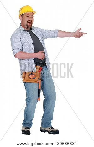 Construction worker laughing at something poster