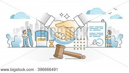 Singing Contract Moment Scene With Legal Document, Gavel And Handshake Elements Outline Concept. Dec