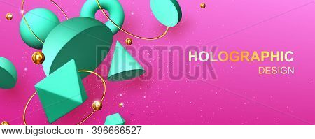 Holographic Abstract Design Banner With Geometric 3d Shapes Hemisphere, Octahedron, Sphere Or Torus,