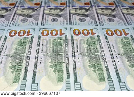 Us One Hundred Dollar Bills Background. Money American Hundred Texture Notes Design. Financial Conce
