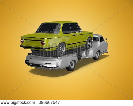 3d Rendering Concept Tow Truck Transports Car On Orange Background With Shadow