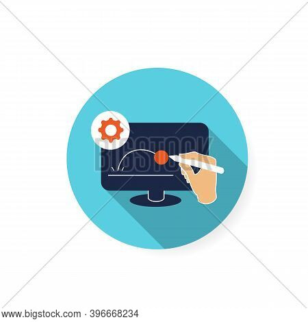 Animated Video Clip Flat Icon. Pictogram Of Hand Drawing Animation Video Content On Computer Monitor