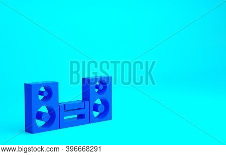 Blue Home Stereo With Two Speaker S Icon Isolated On Blue Background. Music System. Minimalism Conce