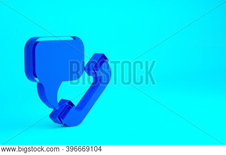 Blue Telephone With Emergency Call 911 Icon Isolated On Blue Background. Police, Ambulance, Fire Dep