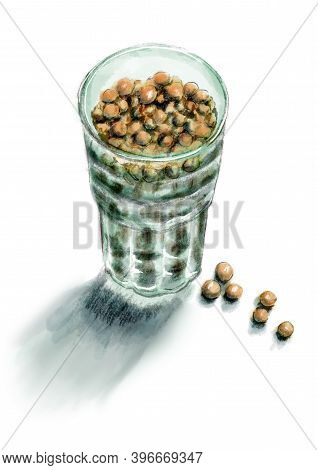 Glass Of Dried Peas Seeds. Hand Drawn Illustration. Good Element For Menu Design Or Recipe Decor