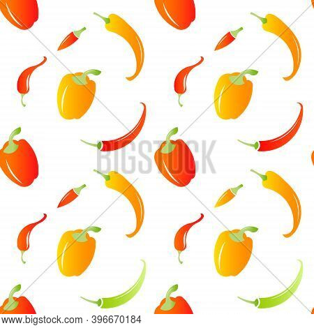 Chili Peppers Seamless Pattern. Hot Food. Chili Pepper