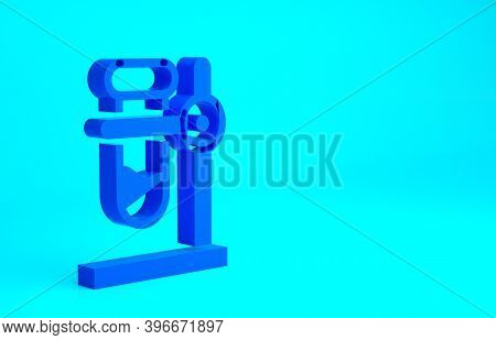 Blue Glass Test Tube Flask On Stand Icon Isolated On Blue Background. Laboratory Equipment. Minimali