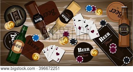 Table With Items For Playing Cards, Poker, Dominoes. Top View Of The Wooden Bar With Beer Bottles, M