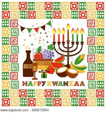 Vector Modern Flat Concept Design On Kwanzaa Greeting Card Featuring Kinara Candle Holder With Lit U