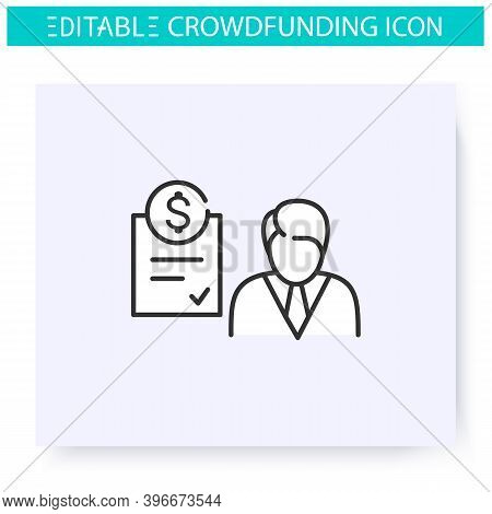 Accredited Investor Line Icon. Individual Or A Business Entity. Funding And Investment Concept. Proj
