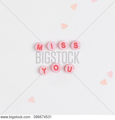 MISS YOU beads message typography