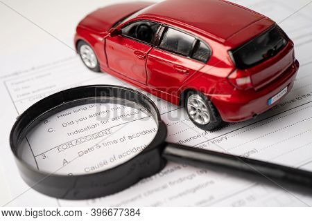 Insurance  Claim Accident Car Form, Car Loan, Insurance And Leasing Time Concepts.
