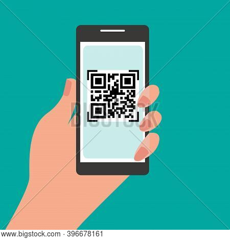 Hand Holding Mobile Phone With Qr Code On The Screen. Scan Qr Code To Phone.  Electronic Digital Pay