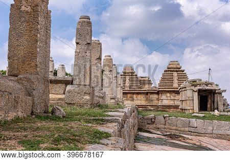 Hampi, Karnataka, India - November 4, 2013: Virupaksha Temple Complex. Brown Stone Ruins Of Ramparts