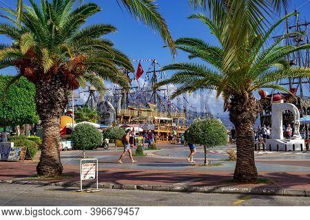 Turkey, Alanya - October 22, 2020: Tropical Exotic Promenade In Alanya Marina (alanya Yat Limani). P