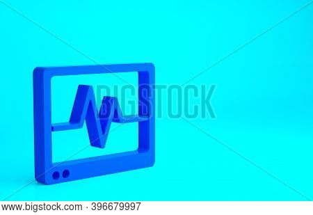 Blue Computer Monitor With Cardiogram Icon Isolated On Blue Background. Monitoring Icon. Ecg Monitor