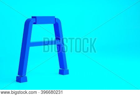 Blue Walker For Disabled Person Icon Isolated On Blue Background. Minimalism Concept. 3d Illustratio