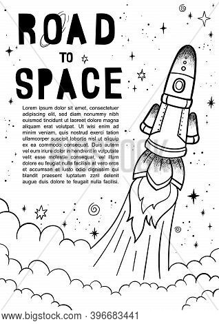 Hand Drawn Space Banner Template. Space Doodle Vector Illustration With Cartoon Rocket, Planets, Sta