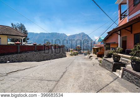 Java, Indonesia - 11 September 2018: Street Of Cemoro Lawang, A Very Small Hamlet North-east Of Moun