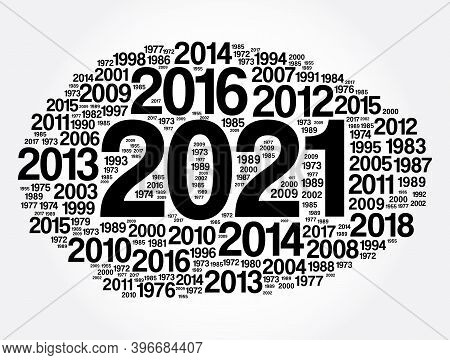 2021 - New Year And Previous Years Word Cloud Collage