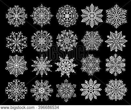 Set Of New Year's Snowflakes.set Of New Year's Snowflakes In White On A Black Background.
