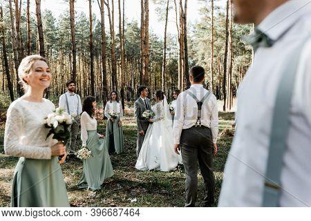 International Wedding With Friends,close Friends Congratulate The Newlyweds,cheerful And Happy Weddi
