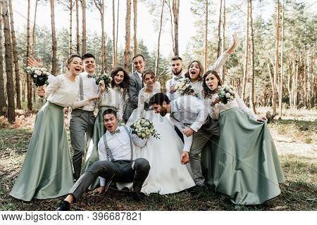 International Wedding With Friends,close Friends Congratulate The Newlyweds,cheerful And Happy Weddi