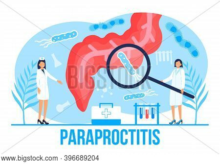 Para Proctitis Concept Vector For Medical Web. App. Blog. Intestine Doctors Examine, Treat Dysbiosis