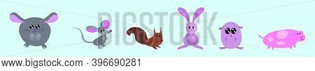 Set Of Critters Cartoon Icon Design Template With Various Models. Modern Vector Illustration Isolate