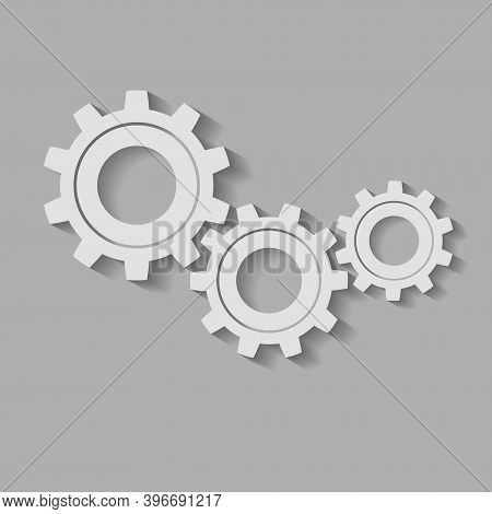 Metal Gears. Factory Gears Vector Icon. Mechanical Gear. The Image Of The Gear.