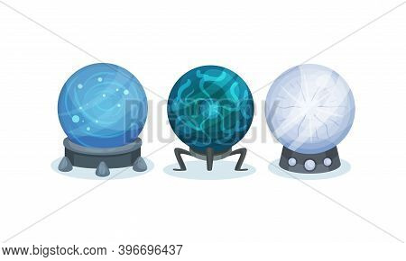Magical Crystal Orbs As Mysterious Paranormal Wizard Sphere Vector Set