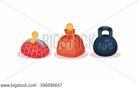 Still Bank Or Moneybox With Hole For Coins Vector Set