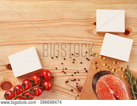 Salmon Steak, Cherry Tomatoes, Capsules, White Boxes With No Logo, Black And Red Peppercorns, Salt O