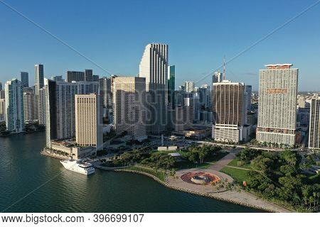 Miami, Florida - November 26, 2020 - Aerial View Of City Of Miami And Bayfront Park On Sunny Autumn