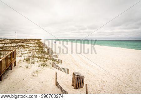 Pensacola Beach On A Cloudy Day In Pensacola Florida.