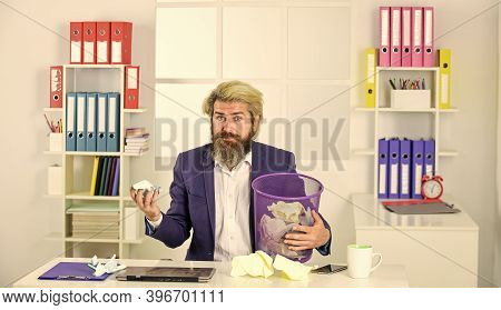 Recover Document. Businessman Hold Trash Can. Man Look For Lost Document. Office Worker Digging Garb